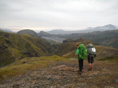 Looking down to the green valley of Þórsmörk, A Robertson