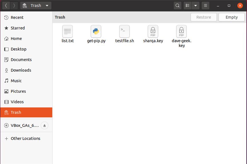 How to empty trash from Ubuntu terminal 4