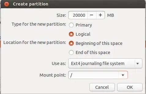 create root partition ubuntu installation