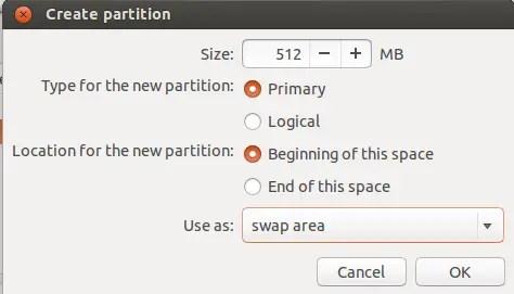 creating swap partition in ubuntu installation
