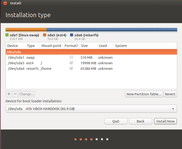 partitioning completed ubuntu installation