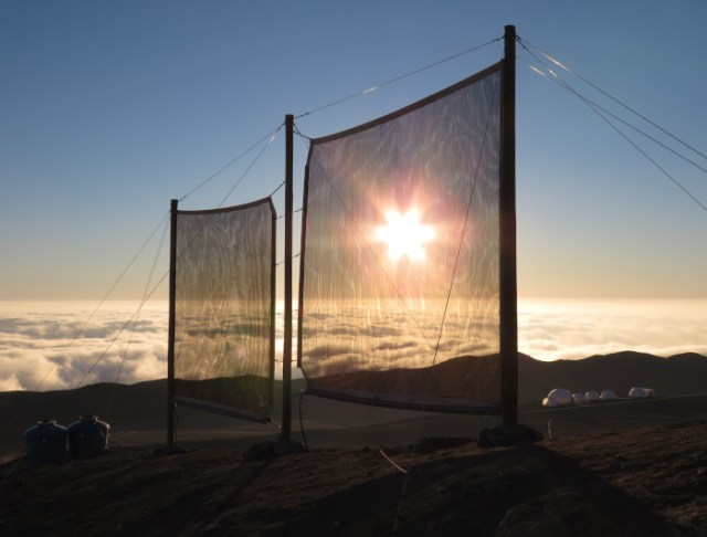 Fog-catchers in the Atacama Desert.