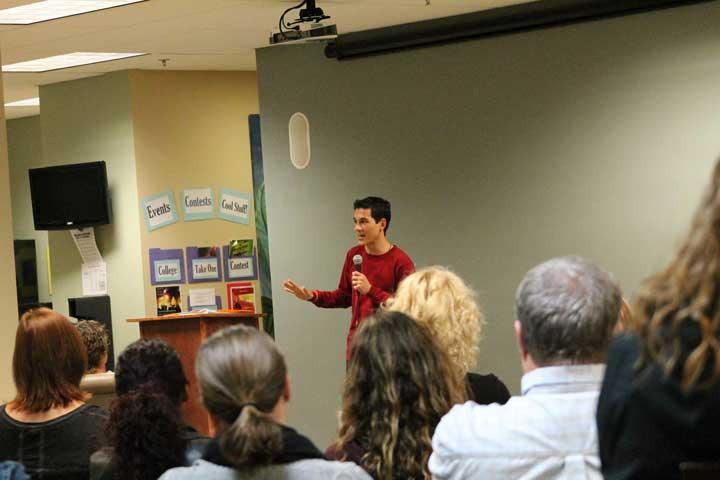 teen speaker to parents at high school