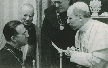 Pope Pius XII receives Msgr. Georges Lemaître, the Belgian priest who proposed the Big Bang theory.
