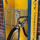 Bicycle in newsstand