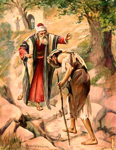 Painting illustrating a father welcoming his son home - prodigal son