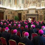 البابا فرنسيس يلقي كلمة بحضور الأساقفة الجدد