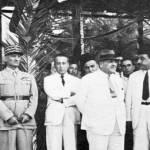 تشرين الثاني 1943 بعد إطلاق زعماء الاستقلال اللبناني في قلعة راشيا، من اليسار إلى اليمين الجنرالان سبيرز وكاترو، حميد فرنجية وبشارة الخوري وصبري حمادة ورياض الصلح.