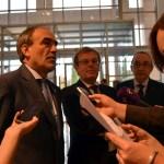 El secretario general de Infraestructuras, el rector y el director de la Escuela de Caminos atienden a los medios