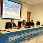 Eduardo Fernández-Medina, Marcela Genero y José Antonio Cruz-Lemus, durante la inauguración de la ESEIW 2016