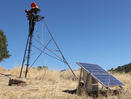 Installing Wired Wilderness camera at Blue Oak Ranch Reserve