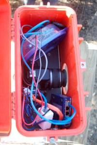 Inside pond camera box