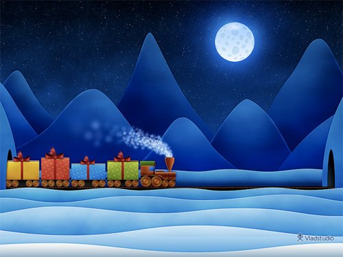 Free Christmas Desktop Wallpaper - Christmas Train