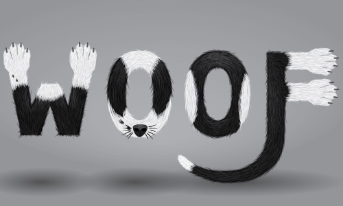 furry calligram in illustrator