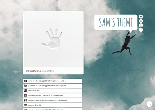 Tumblr Theme 01 by Andrew Stichbury via YouTheDesigner.com
