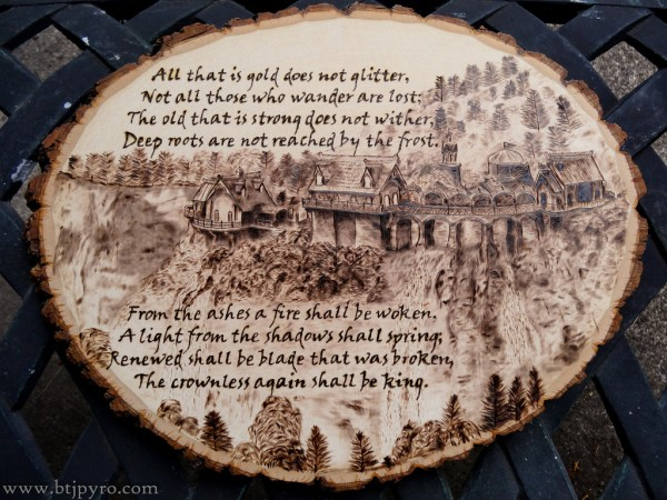 """""""Lord Of The Rings"""" - pyrography by Brandon Jones"""