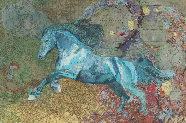 Blue Horse, 2011, Inlaid maps on panel by Matthew Cusick