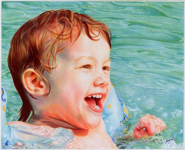 """Pool Boy"" - Ballpoint Pen Artwork by Samuel Silva"