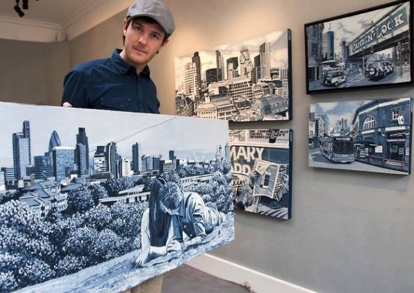 "Ian Berry aka ""Denimu"" in an exhibition at Catto Gallery Hampstead"