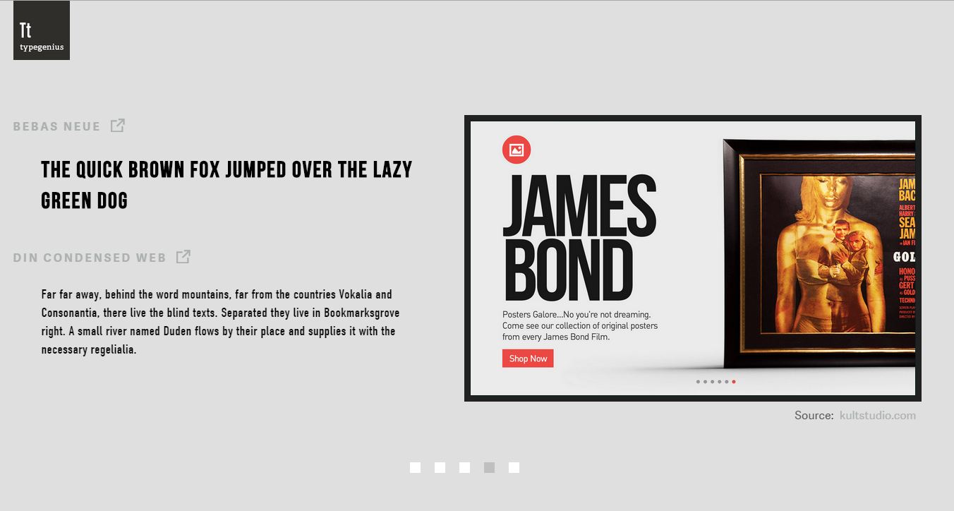 Bebas Neue and Din Condensed fonts for  James Bond