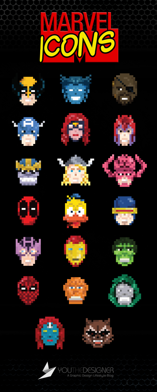 pixelated marvel icons