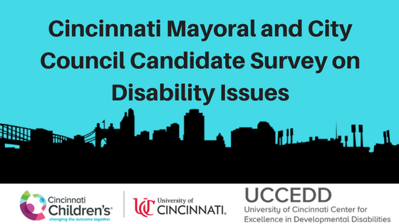 An outline of the City of Cincinnati is on a blue background with the words Cincinnati Mayoral and City Council Candidate Survey on Disability Issues. A logo is below the image and text that includes Cincinnati Children's Hospital, University of Cincinnati, and the University of Cincinnati Center for Excellence in Developmental Disabilities
