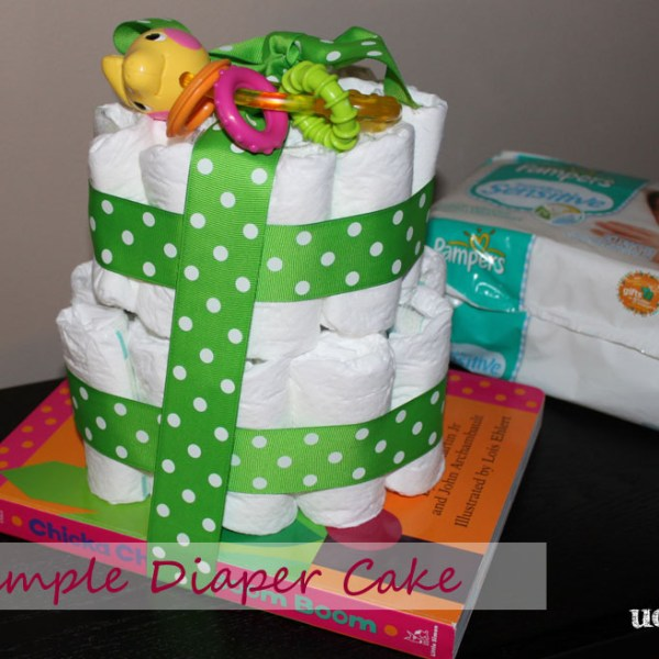 simple diaper cake on a board book