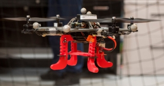 A drone is tested in the University of Delaware's Spencer Laboratory.