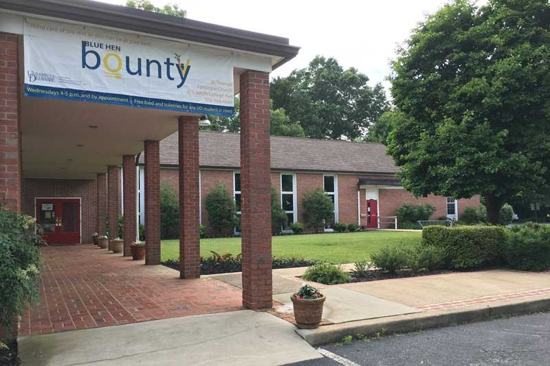 Students will recognize the home of Blue Hen Bounty as the brick church with expansive grounds that sits at the intersection of South College Avenue and Park Place. All are welcome to make an appointment or visit the pantry's open hours during the semester and need only bring their student UD ID for verification.