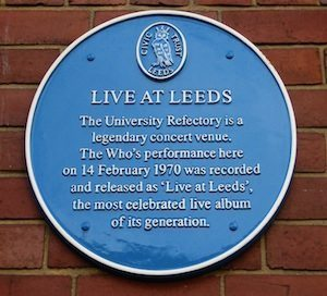 Who Live At Leeds Blue Plaque