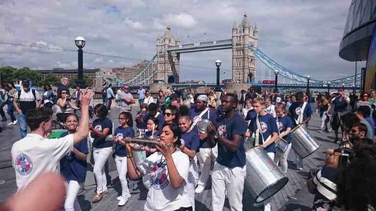 UDMSamba, The Scoop @More London, Uniao da Mocidade, Youth samba London, Bateria, Samba Drummers, Tower Bridge