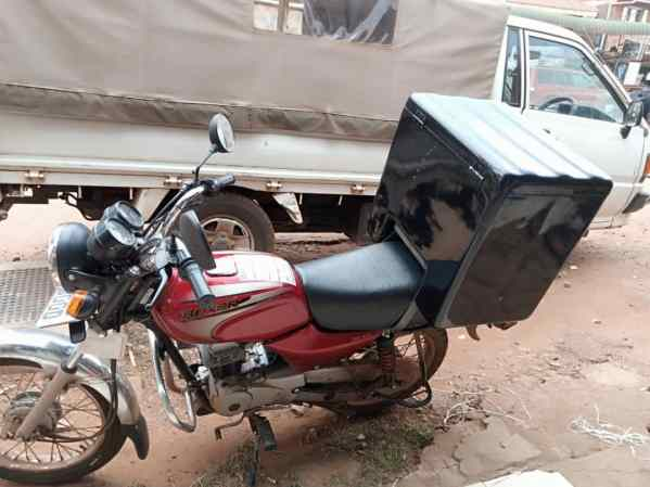 Fibreglass motorcycle delivery, courier, top, rear box for motorcycles in Kampala - Uganda