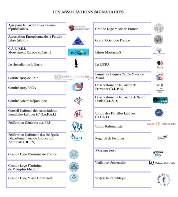 Liste des signataires du communiqué.