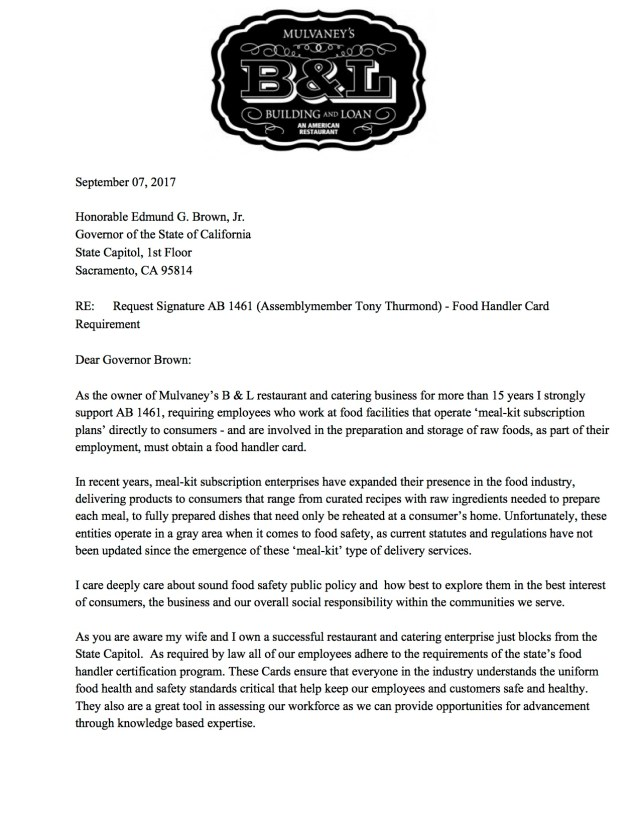 Letter of Support: Request Governor Signature for AB 30