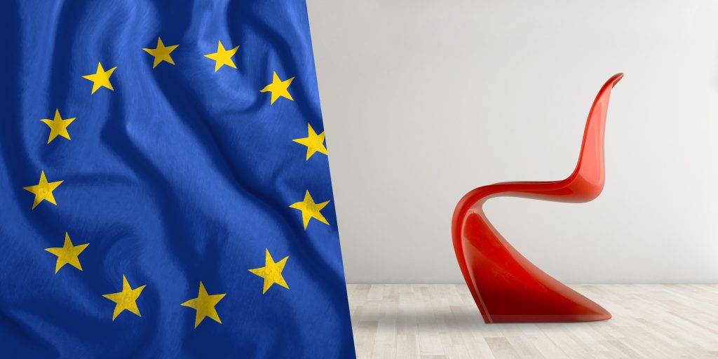 design model with european flag
