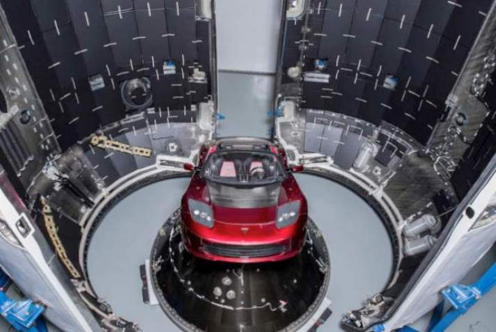 images of Tesla in space were shot on a set