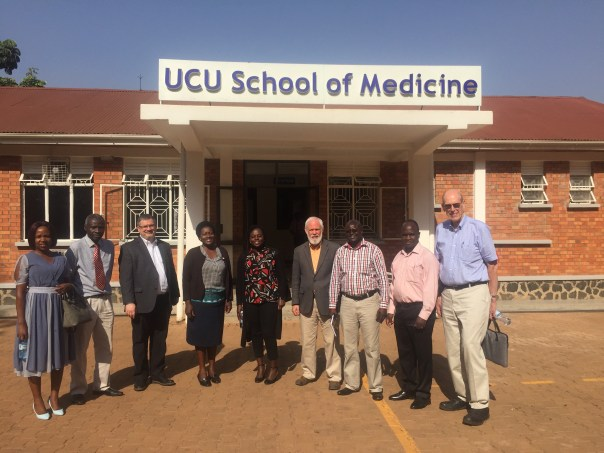 UCU Partners Consultant Doug Fountain (third from left) with affiliates from Johnson and Johnson Global Community Impact, Novartis Social Business and Kabarak University, Kenya at the UCU School of Medicine. (UCUPartners Photo)