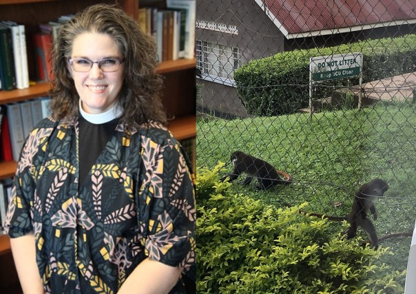 """Rev. Jessica Hughes, from the state of Virginia in the USA, decided to remain on the University campus. These are some of her """"neighbors"""" outside her apartment in Mukono, Uganda."""