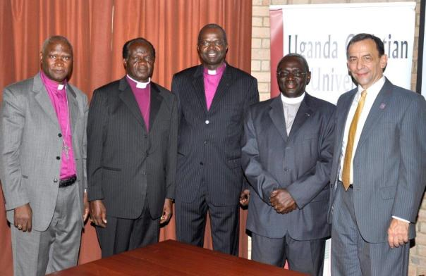 Retiring UCU Vice Chancellor John Senyonyi, second from right, and his predecessor, Dr. Stephen Noll, right, with Archbishop Emeritus Henry Luke Orombi, his predecessor, Livingstone Mpalanyi Nkoyoyo (second left) and the Rt. Rev. Dr. Michael Kyomya bishop emeritus of Busoga Diocese.
