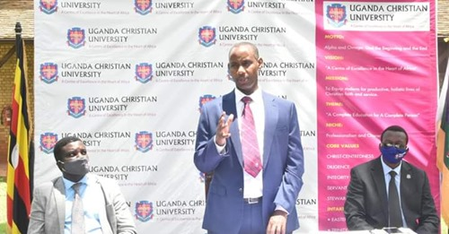 Dr. Aaron Mushengyezi, UCU's new vice chancellor, speaks at a press conference.