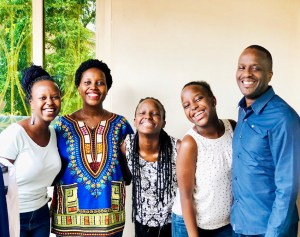 A family picture of the Rwegos. Kamanzi, at left, is with her parents and two sisters