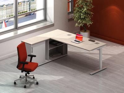 bureau droit inneo 160x80 sur meuble de rangement bas 1 porte et 1 niche