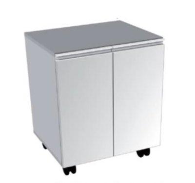 meuble bas mobile 4 roulettes 2 portes battantes longueur variable de 300 a 600 mm