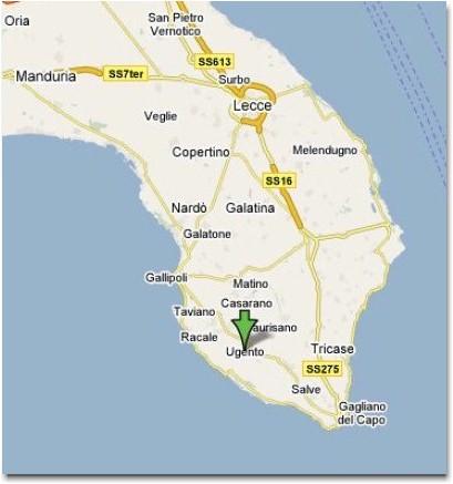 Mappa Puglia Ugento.Dove Si Trova Ugento Net