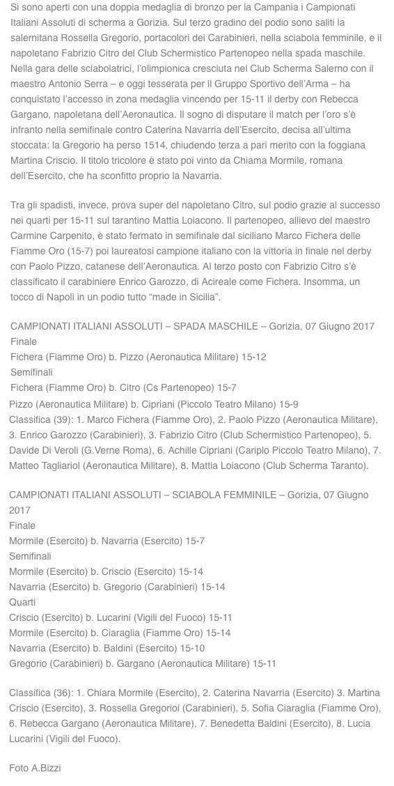 Campionati italiani assoluti a Gorizia: bronzo per la sciabolatrice salernitana Rossella Gregorio e per lo spadista napoletano Fabrizio Citro