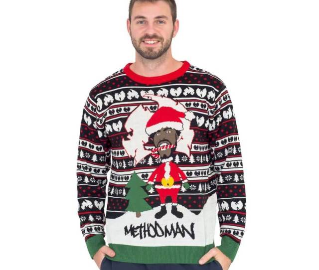 Method Man As Santa With Candy Cane Ugly Christmas Sweater
