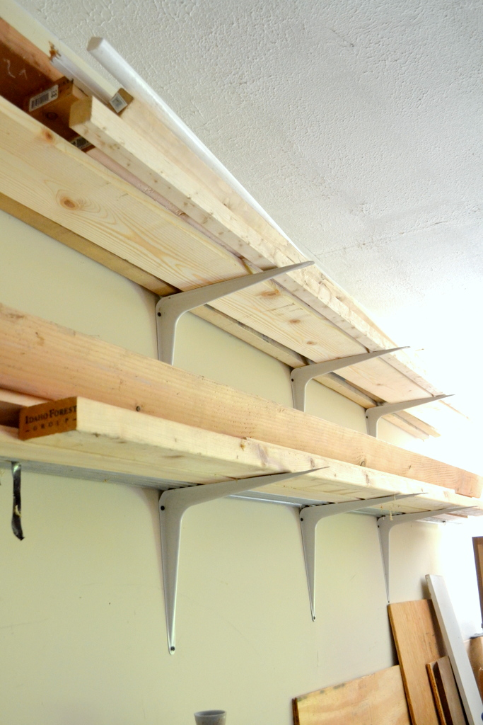 DIY lumber rack shelf brackets