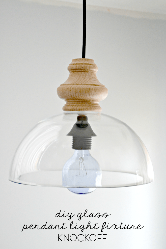 Diy Glass Pendant Light Fixture Knockoff The Ugly