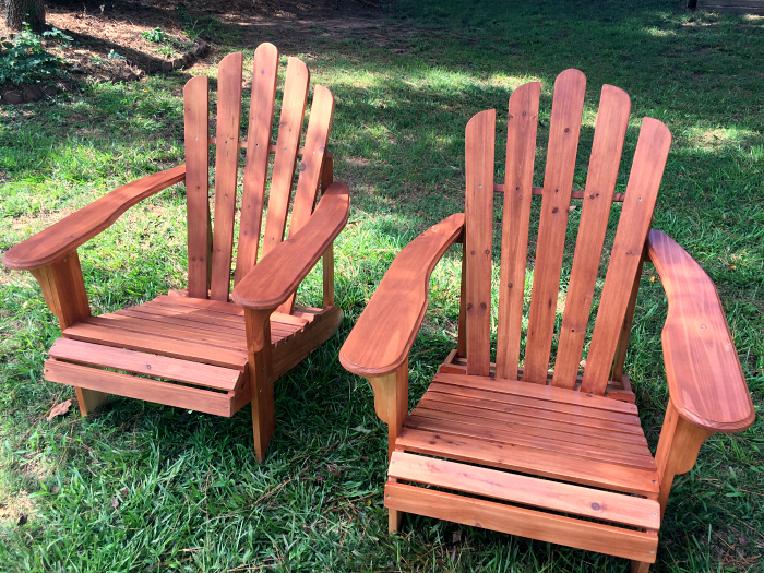 new stained Adirondack chairs