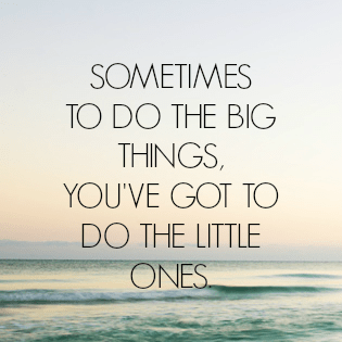 sometimes to do the big things youve got to do the little ones
